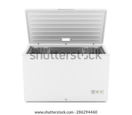 Open chest freezer on white background - stock photo