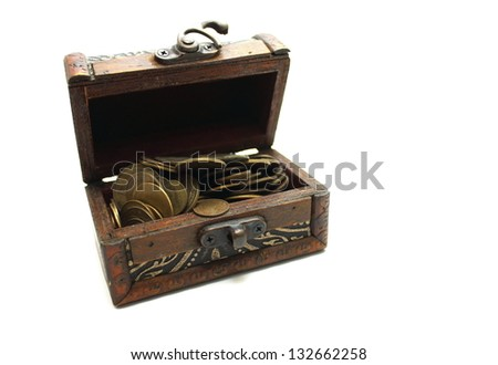 Open chest with old money on a white background - stock photo