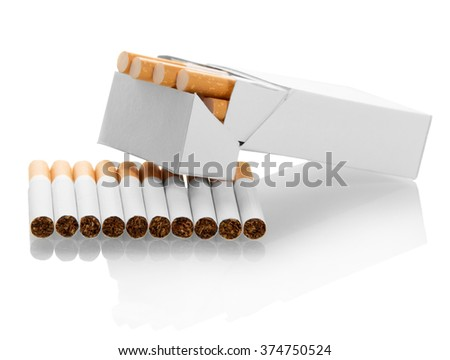 Open cigarettes pack isolated on white background - stock photo