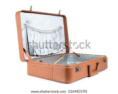 Open classic leather suitcase shot on white background - stock photo