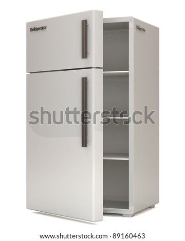 Open Classic Refrigerator on white background - stock photo
