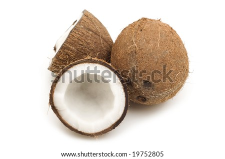 open coconut on white background
