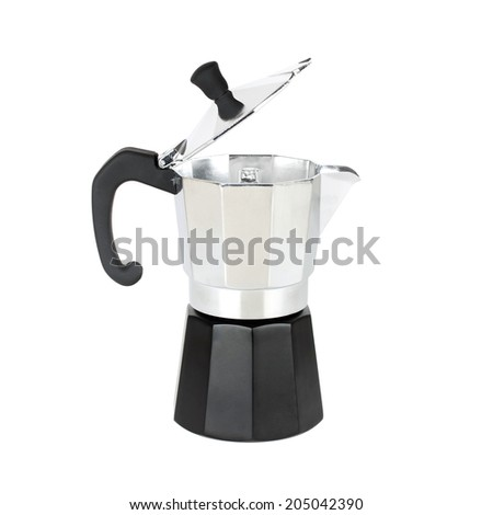 Open coffeepot closeup on white background