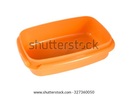 Open color plastic container for food isolated on white - stock photo