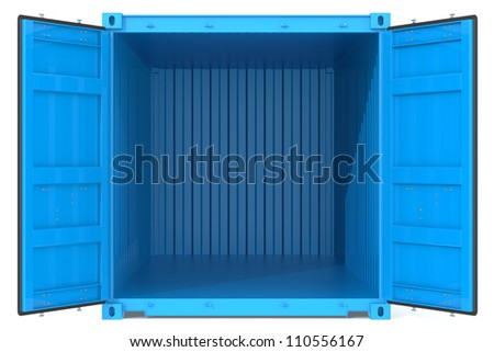 Open Container. Blue Cargo Container. Open Doors. Front view.