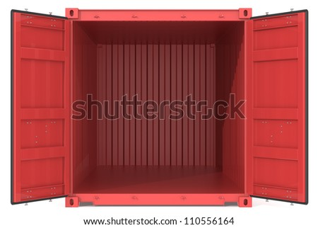 Open Container. Red Cargo Container. Open Doors. Front view. - stock photo