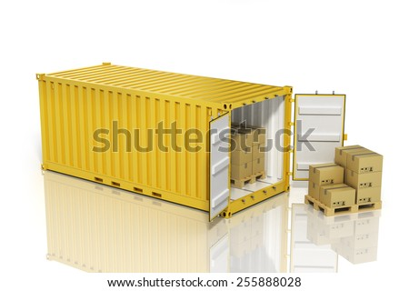 Open container with cardboard boxes. Cargo.