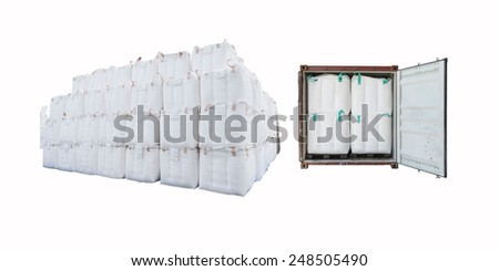 Open container with Jumbo Bag and Container Cargo freight ship with  isolated on white background. - stock photo