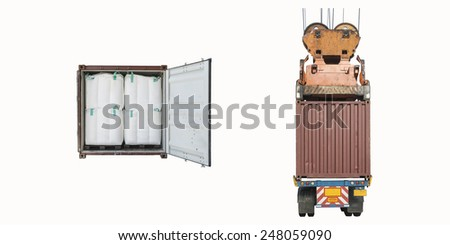 Open container with Jumbo Bag and Container Cargo freight ship with working crane bridge isolated on white background. - stock photo