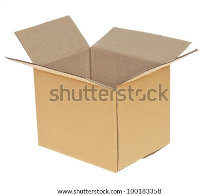Open Corrugated cardboard box isolated on white background