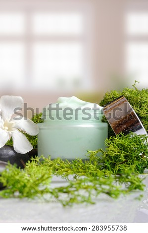 Open cream jar algae. Flowers, black stones and seaweed decoration. Windows background. Front and vertical view - stock photo