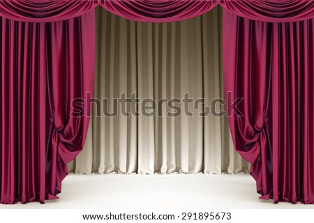 Open  crimson theater curtain with light and shadows of the open, background