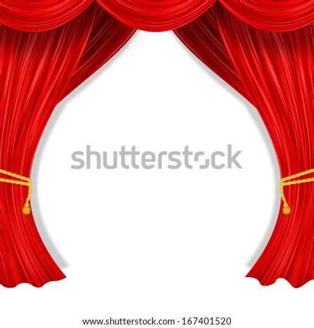 Open curtain. Red fabric and yellow garter belt - stock photo