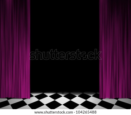 Open Curtain Spotlight Stage Background - stock photo