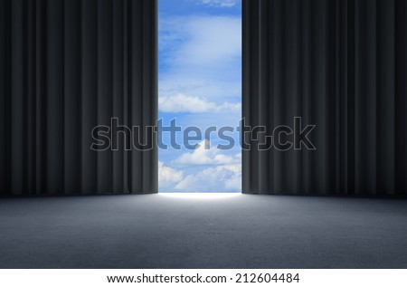 open curtains to blue sky - stock photo