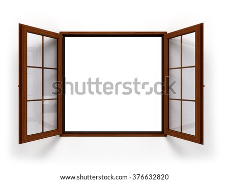 open dark wooden window isolated close up - stock photo