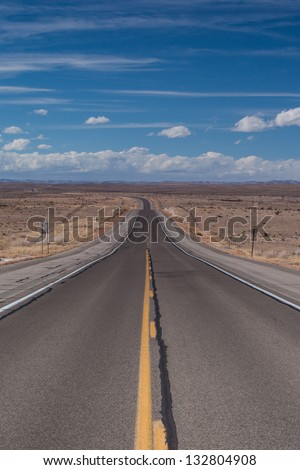 Open deserted HWY 82 between Artesia and Cloudcroft in New Mexico, USA - stock photo