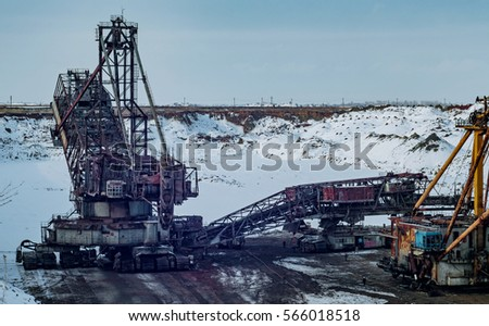 Open development. Huge machines manganese ore is mined in open pits. Metallurgical industry in Ukraine.