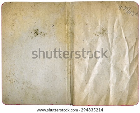 Open diary isolated on white - vintage blank papers with grungy texture - XL size - stock photo