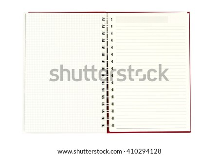 Open diary on white background. - with clipping path. - stock photo
