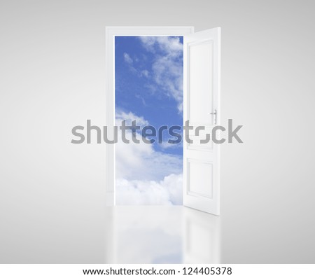 open door and blue sky - stock photo