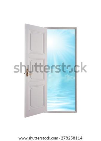 Open door and blue sky - stock photo