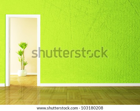 Open door and the plant in the empty room rendering - stock photo