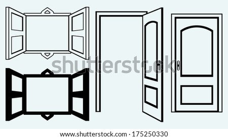 Open door and window. Image isolated on blue background. Raster version - stock photo