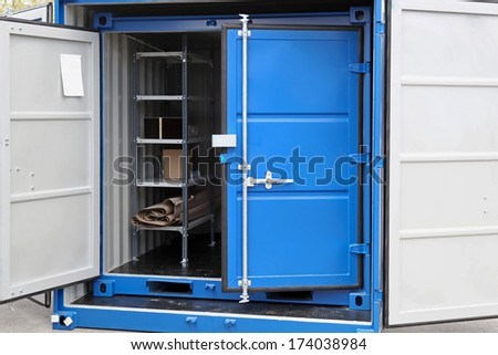 Open door at new shipping cargo container