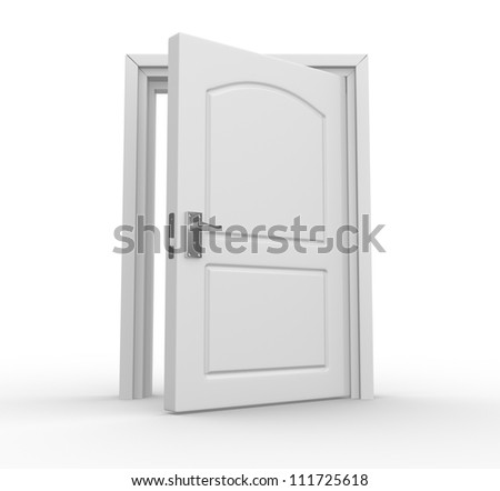 Open door. 3d render - stock photo