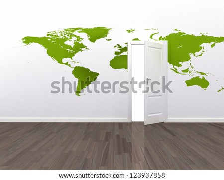 Open door global communication conceptual background - stock photo