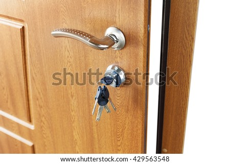 Open door handle wide angle. Door lock with keys. Brown wooden door closeup isolated. Modern interior design, door handle. New house concept. Real estate. - stock photo