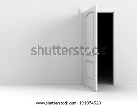 Open door in a clear empty room - stock photo