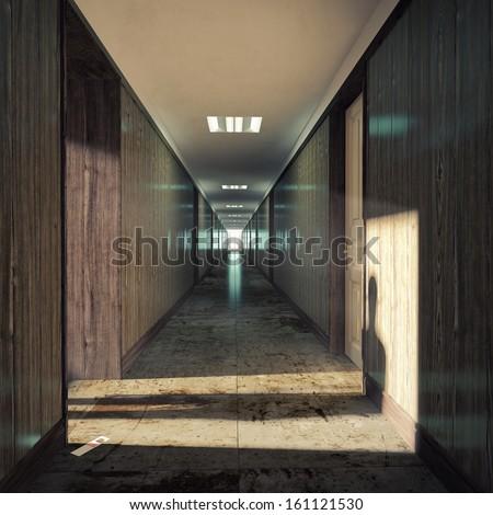 Open door  in a dark corridor. - stock photo