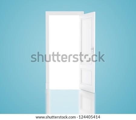open door in blue room - stock photo