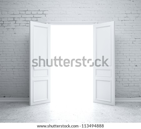 open door in  brick wall - stock photo