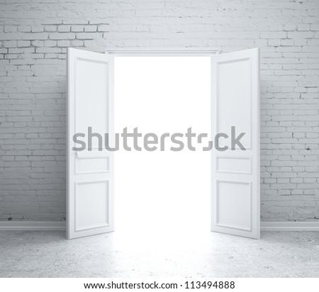 open door drawing perspective. open door in brick wall drawing perspective