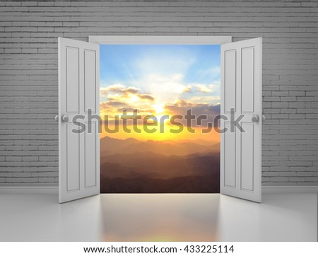 open door in brick wall and sky sunset 3d rendering - stock photo