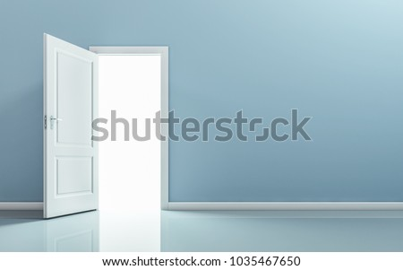 Open door in empty room. 3D rendering