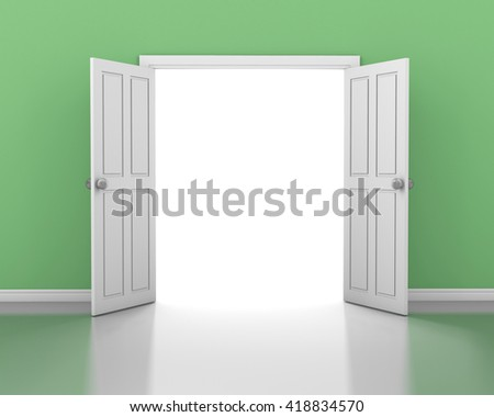open door in green wall 3d rendering - stock photo