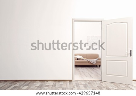 Open door in the room - stock photo