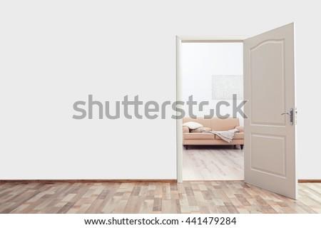 Open door in the room - stock photo