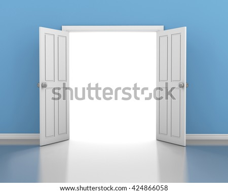 open door in wall 3d rendering - stock photo