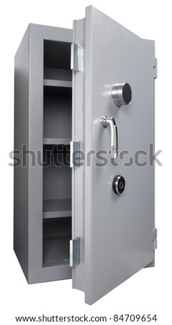 Open door of safe box isolated on white - stock photo