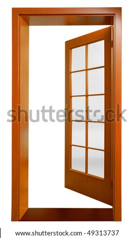 Open door on a white background. - stock photo