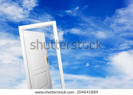 Open door on blue sunny sky with fluffy clouds. Concepts like new life, success, future perspective, hope, religion.  - stock photo