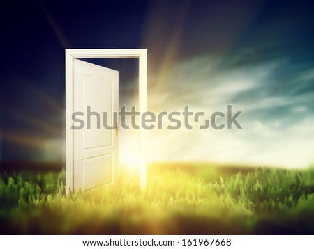 Open door on the green field. Conceptual new way, entrance to new world, heaven, life, hope. - stock photo