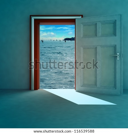 open door to heaven space with red frame and shadow render illustration - stock photo