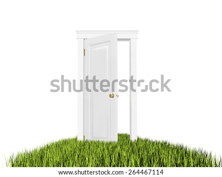 Open door to new world. Green grass carpet. On white background, copyspace. Hope, entrance, future concept. - stock photo