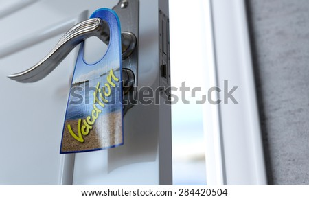 open door to the Beach vacation concept background - stock photo